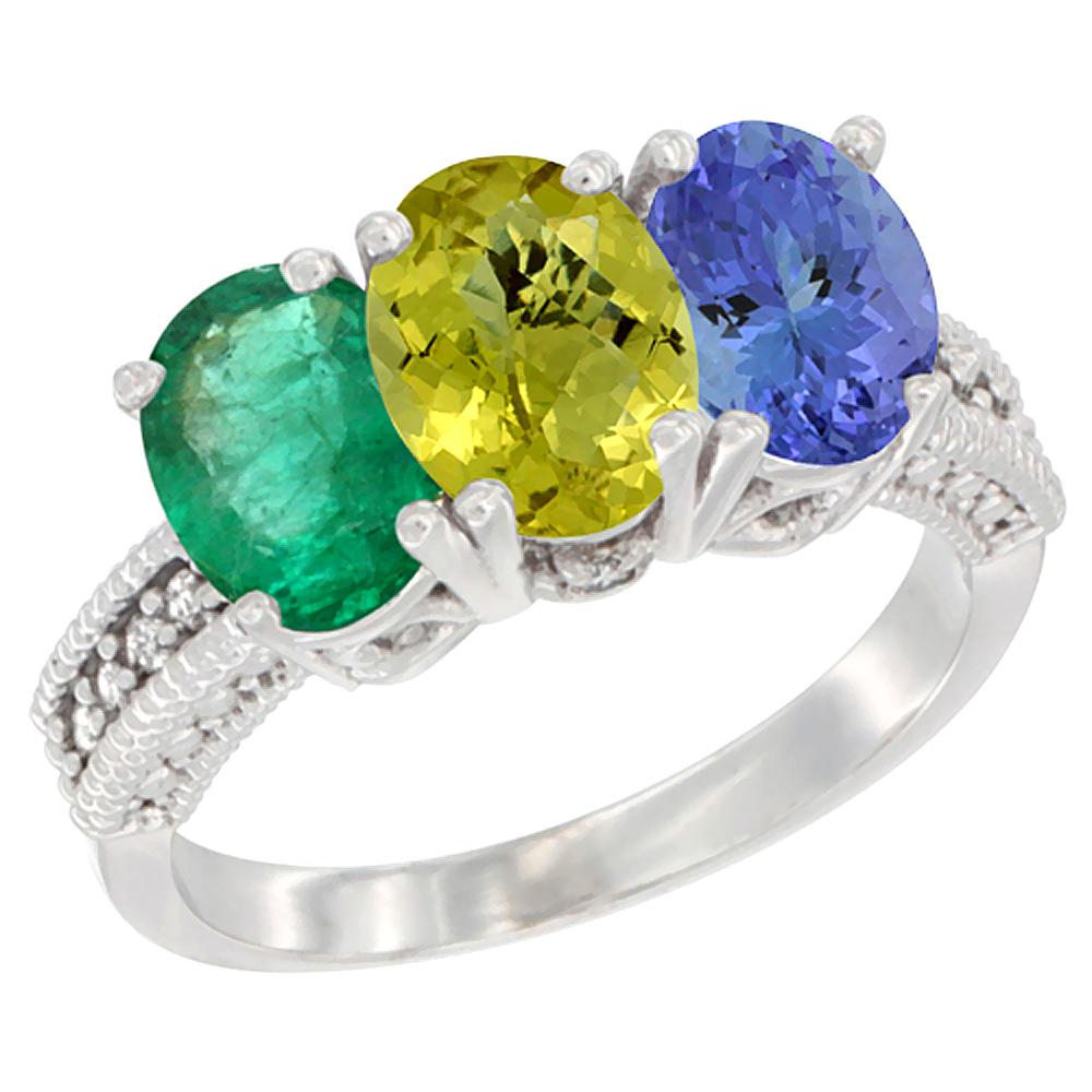 14K White Gold Natural Emerald, Lemon Quartz & Tanzanite Ring 3-Stone 7x5 mm Oval Diamond Accent, sizes 5 - 10