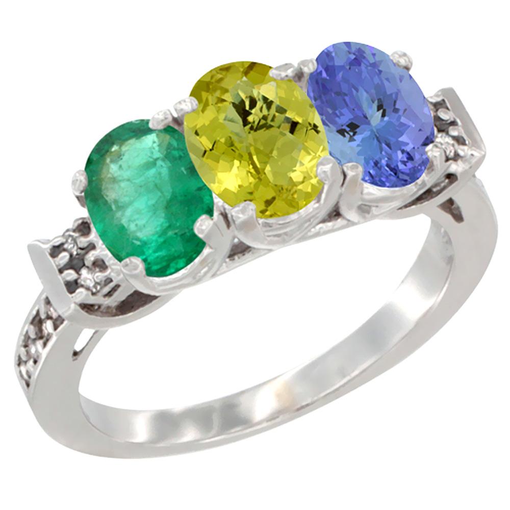 14K White Gold Natural Emerald, Lemon Quartz & Tanzanite Ring 3-Stone Oval 7x5 mm Diamond Accent, sizes 5 - 10