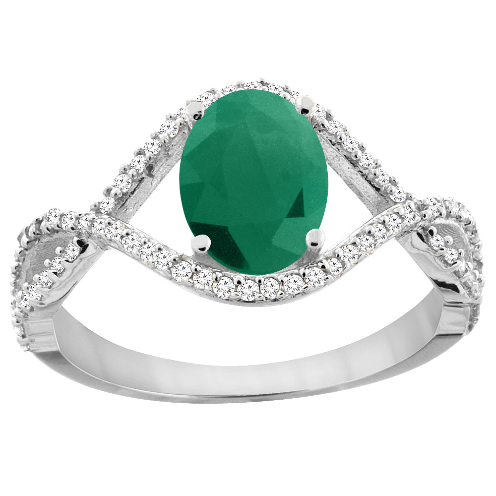 14K White Gold Natural Cabochon Emerald Ring Oval 8x6 mm Infinity Diamond Accents, sizes 5 - 10