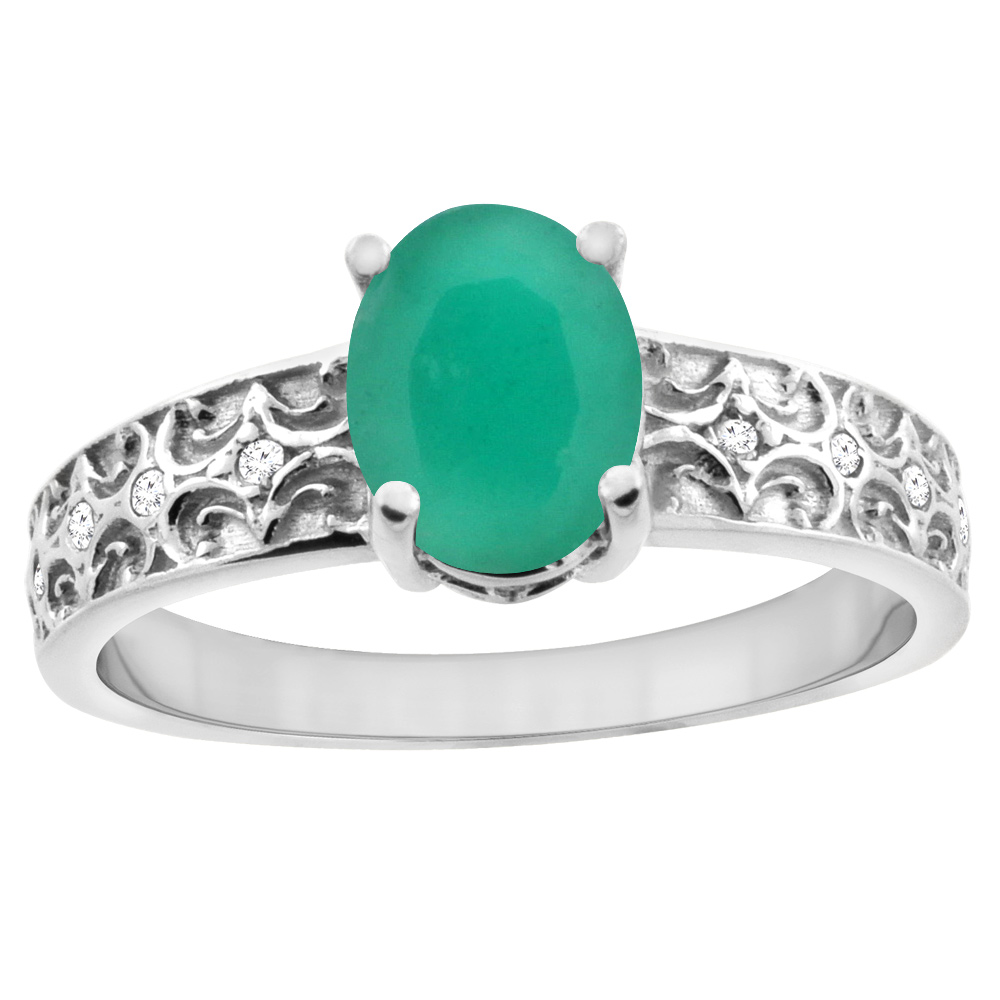 14K White Gold Natural Cabochon Emerald Ring Oval 8x6 mm Diamond Accents, sizes 5 - 10
