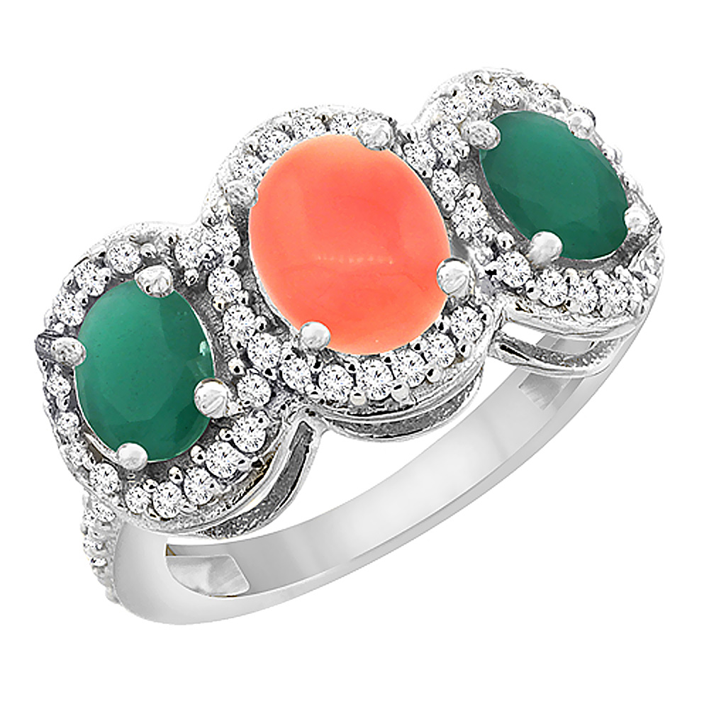 10K White Gold Natural Coral & Cabochon Emerald 3-Stone Ring Oval Diamond Accent, sizes 5 - 10