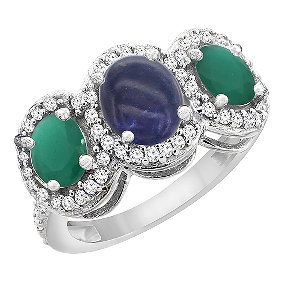 10K White Gold Natural Lapis & Cabochon Emerald 3-Stone Ring Oval Diamond Accent, sizes 5 - 10