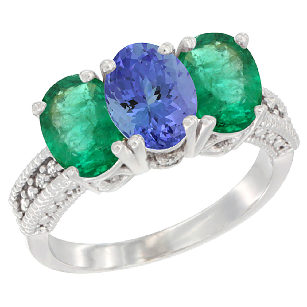 14K White Gold Natural Tanzanite & Emerald Sides Ring 3-Stone 7x5 mm Oval Diamond Accent, sizes 5 - 10