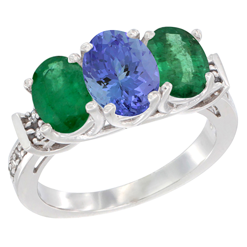 14K White Gold Natural Tanzanite & Emerald Sides Ring 3-Stone Oval Diamond Accent, sizes 5 - 10