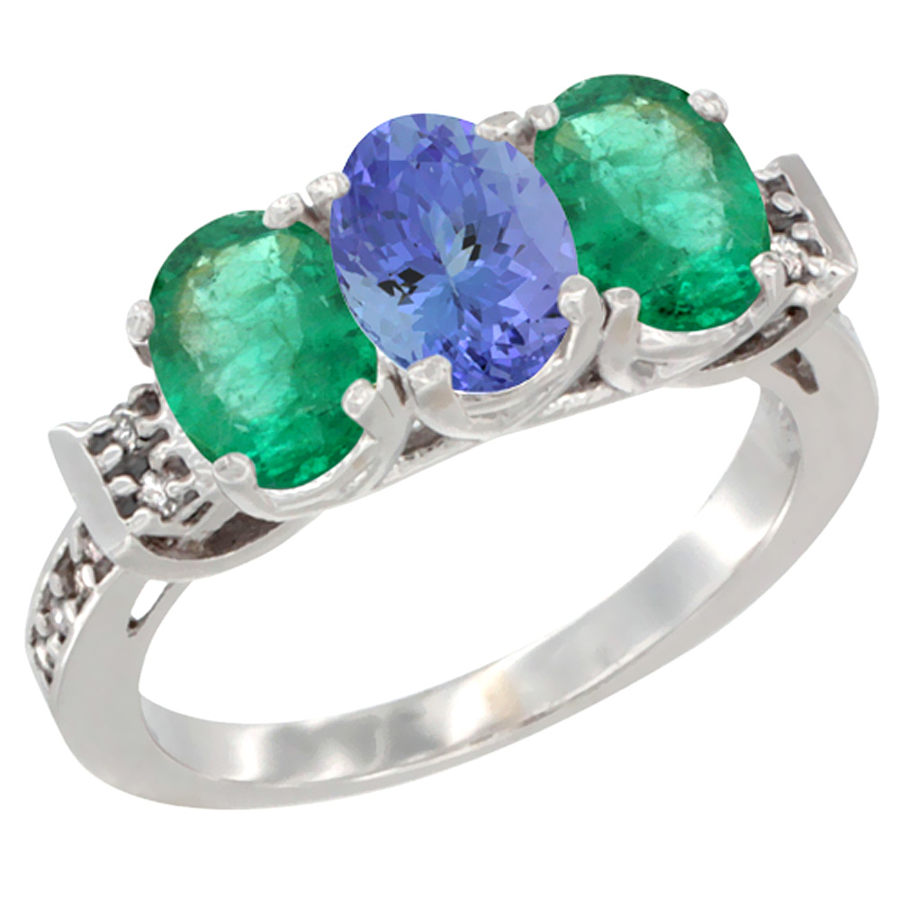 14K White Gold Natural Tanzanite & Emerald Sides Ring 3-Stone Oval 7x5 mm Diamond Accent, sizes 5 - 10