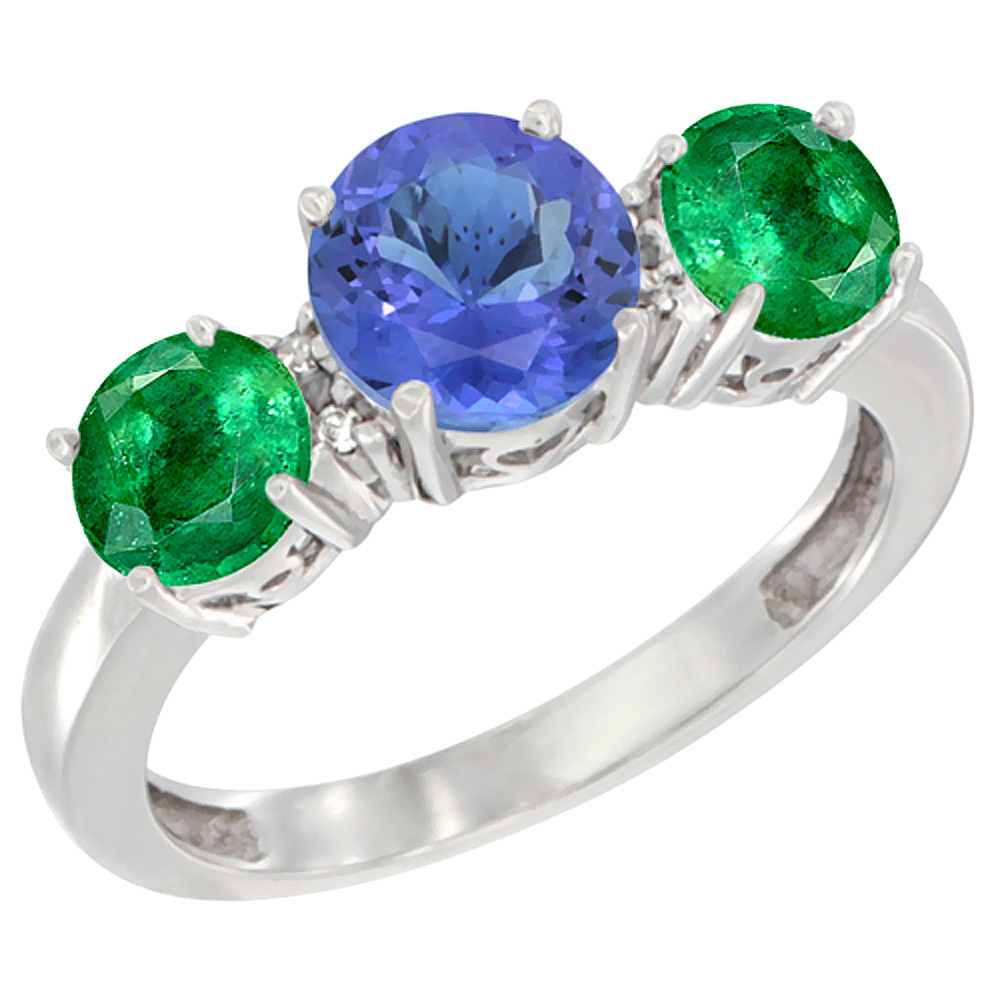 14K White Gold Round 3-Stone Natural Tanzanite Ring & Emerald Sides Diamond Accent, sizes 5 - 10