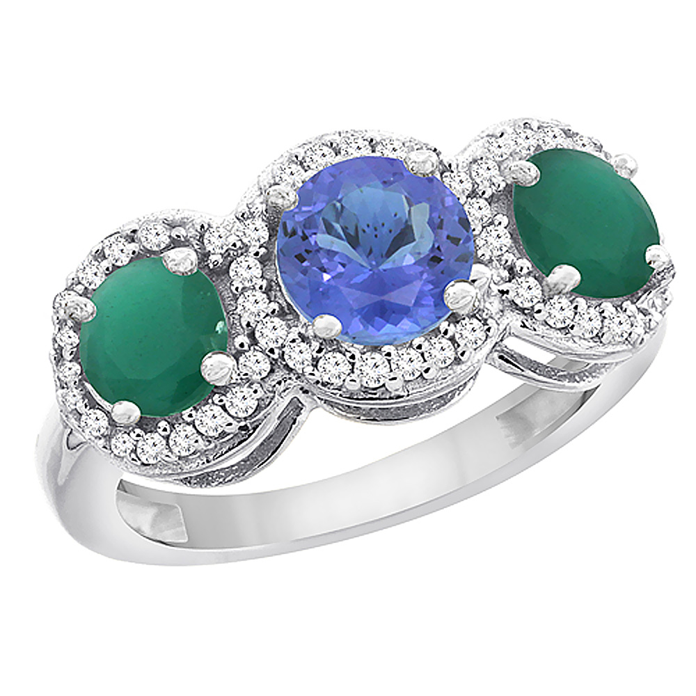 14K White Gold Natural Tanzanite & Emerald Sides Round 3-stone Ring Diamond Accents, sizes 5 - 10