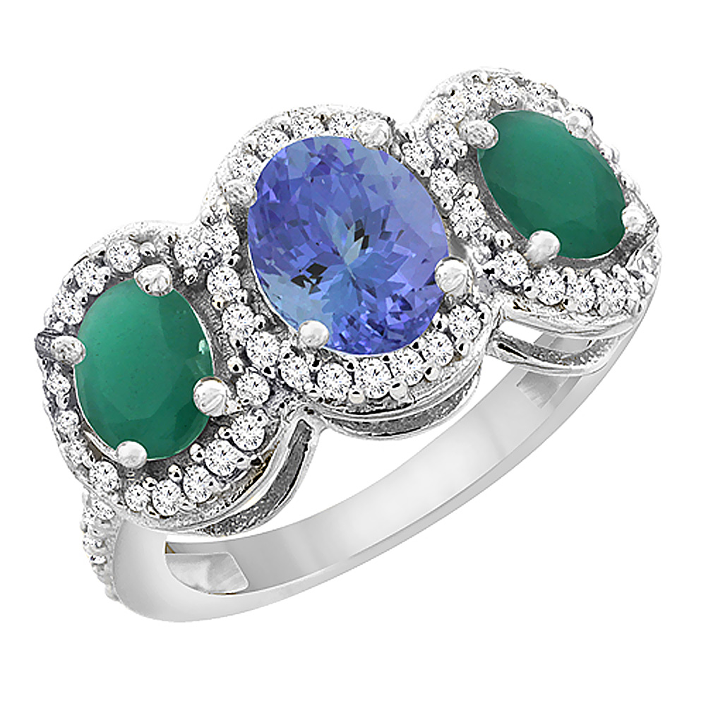 14K White Gold Natural Tanzanite & Cabochon Emerald 3-Stone Ring Oval Diamond Accent, sizes 5 - 10