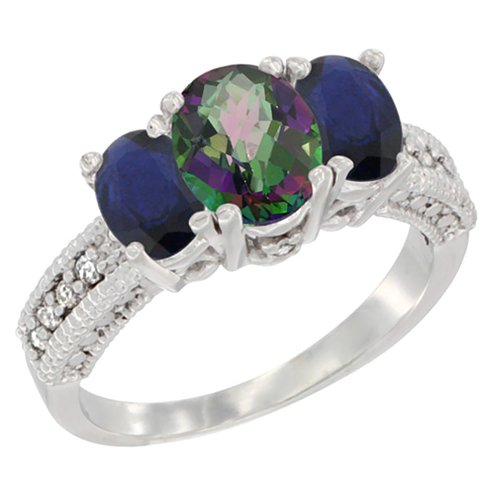 10K White Gold Diamond Natural Mystic Topaz 7x5mm & 6x4mm Quality Blue Sapphire Oval 3-stone Ring,sz 5-10