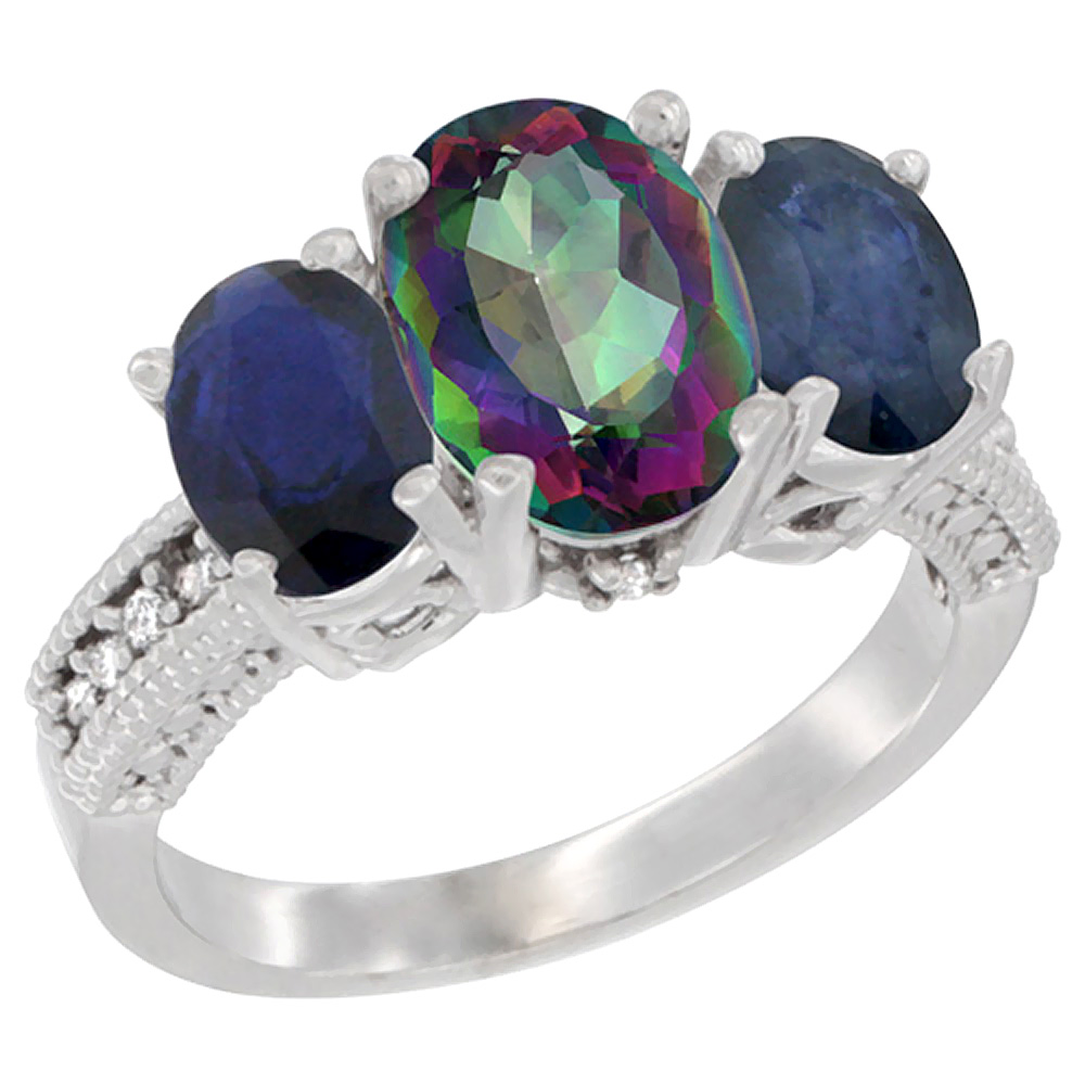 10K White Gold Diamond Natural Mystic Topaz Ring 3-Stone Oval 8x6mm with Blue Sapphire, sizes5-10