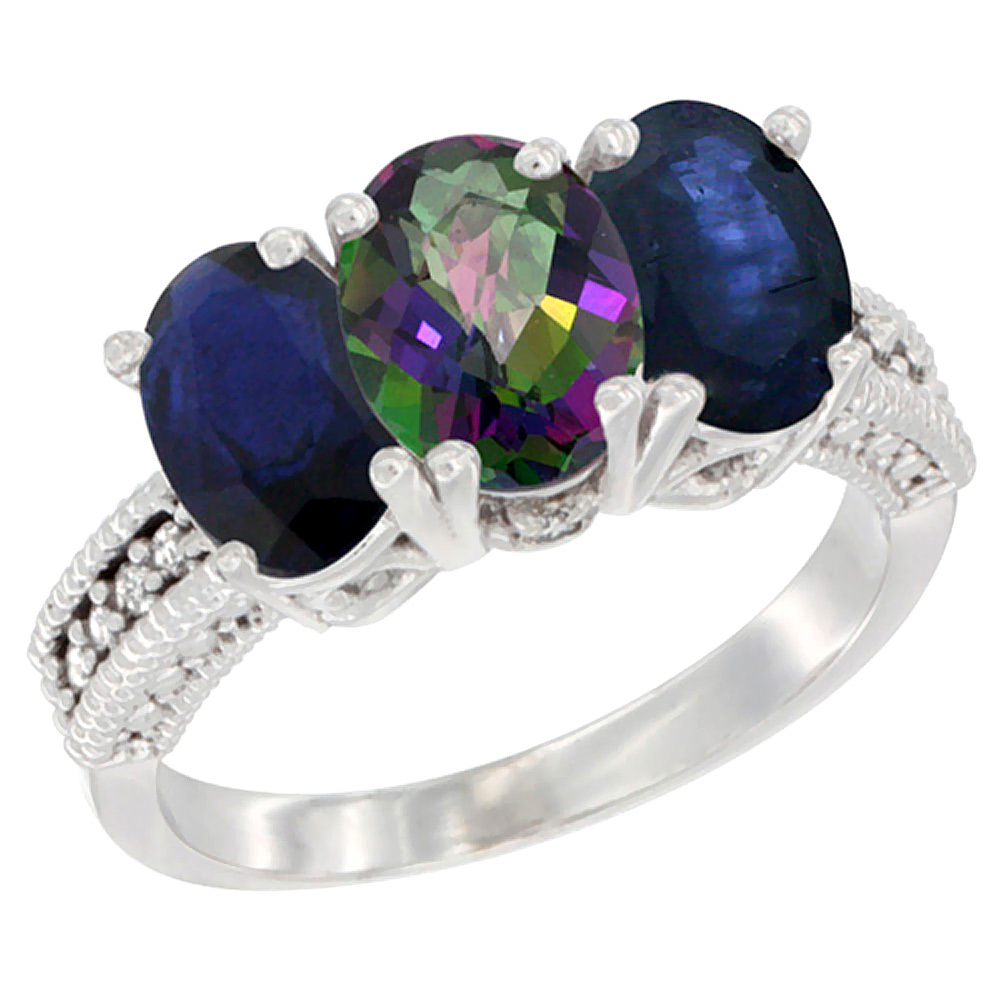 10K White Gold Diamond Natural Mystic Topaz & Blue Sapphire Ring 3-Stone 7x5 mm Oval, sizes 5 - 10