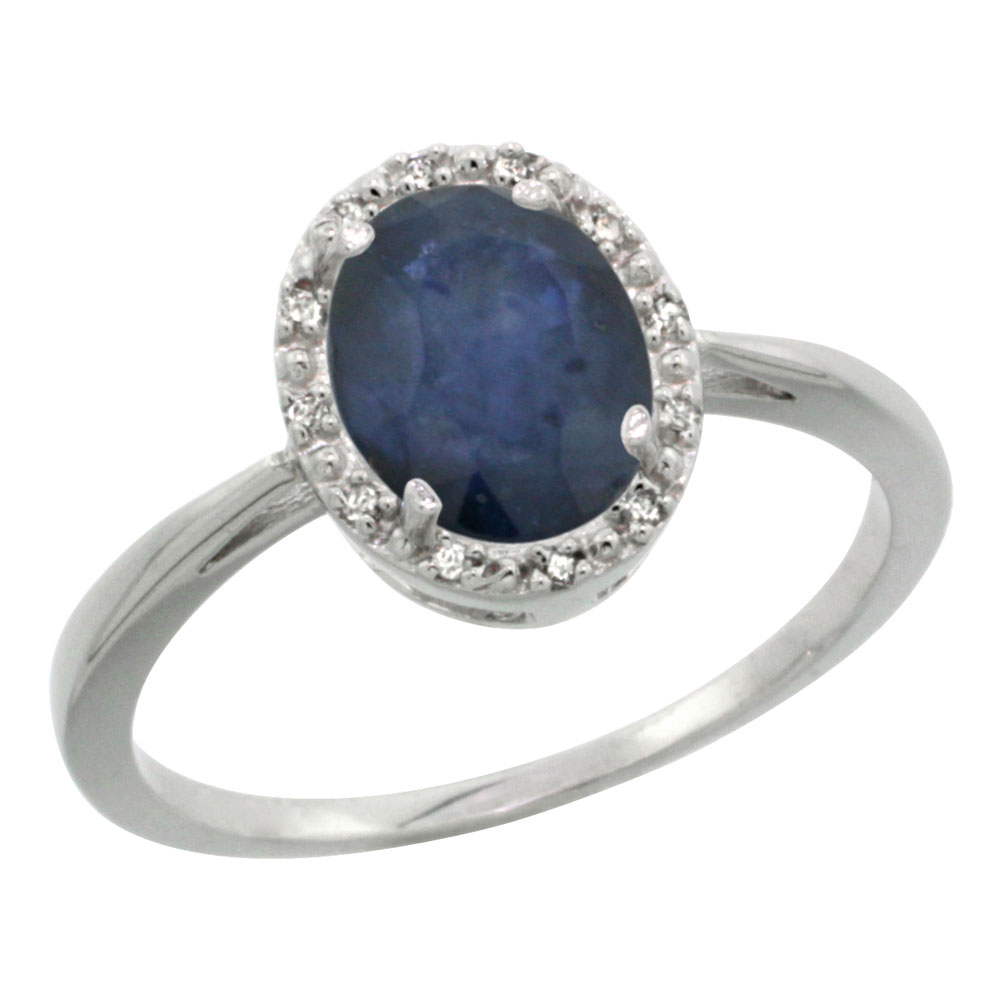10K White Gold Natural Blue Sapphire Diamond Halo Ring Oval 8X6mm, sizes 5 10