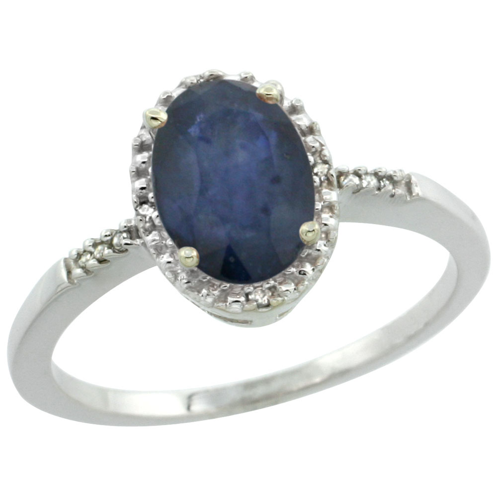 10K White Gold Natural Diamond Blue Sapphire Ring Oval 8x6mm, sizes 5-10