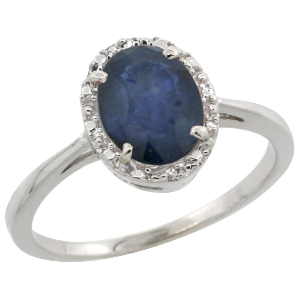 10k White Gold Natural Blue Sapphire Ring Oval 8x6 mm Diamond Halo, sizes 5-10