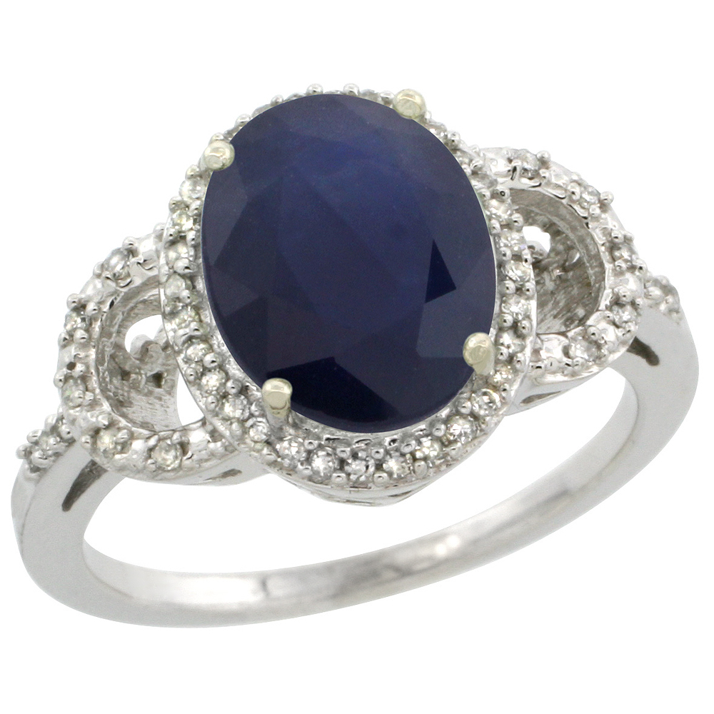 10K White Gold Diamond Natural Blue Sapphire Engagement Ring Oval 10x8mm, sizes 5-10