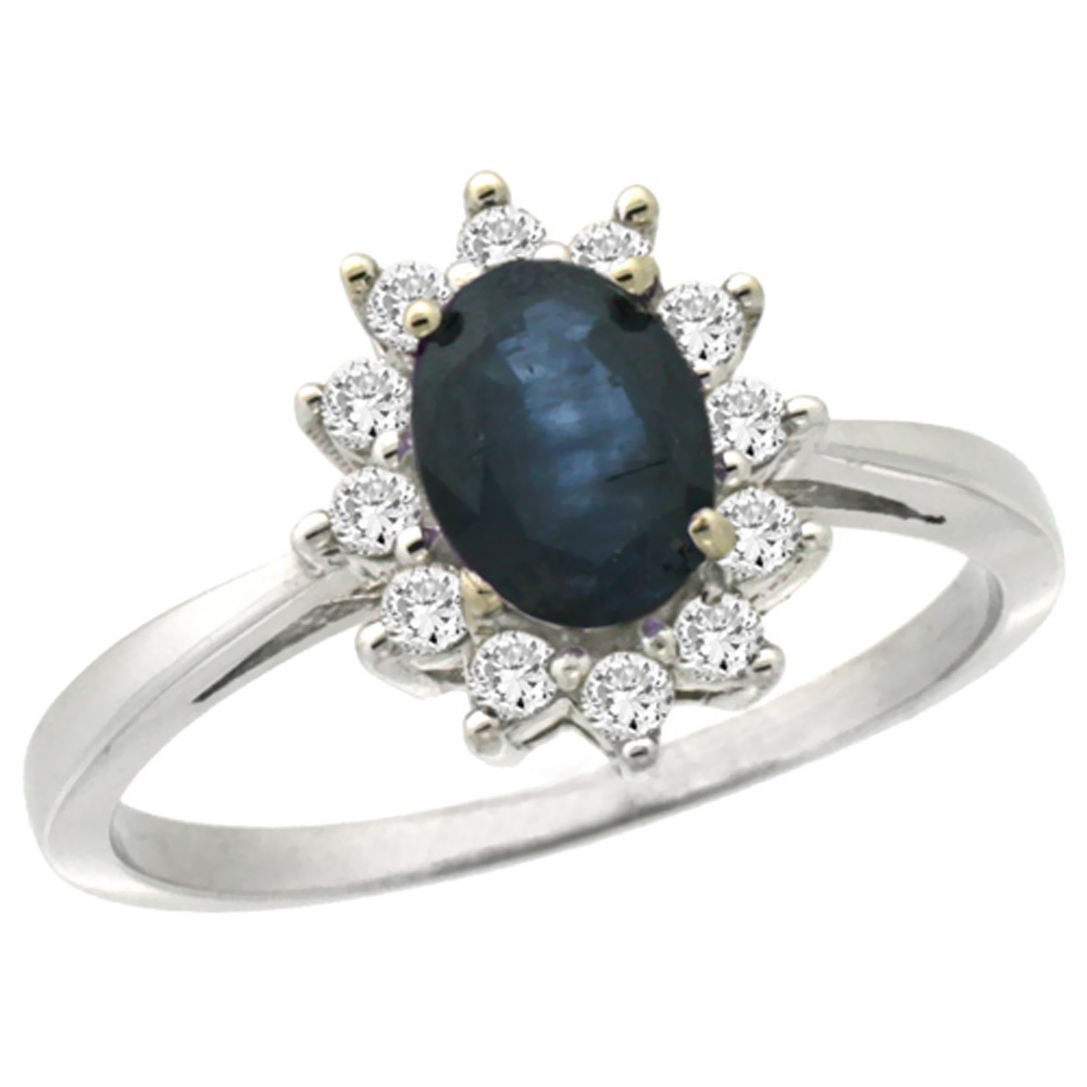 10k White Gold Natural Blue Sapphire Engagement Ring Oval 7x5mm Diamond Halo, sizes 5-10