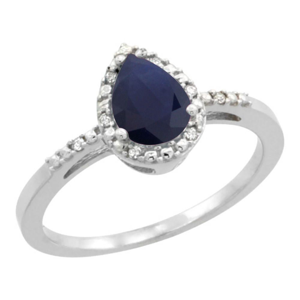 10K White Gold Diamond Natural Blue Sapphire Ring Pear 7x5mm, sizes 5-10