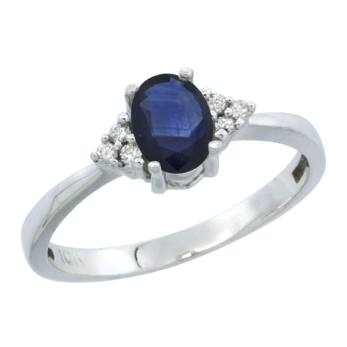 10K White Gold Natural Blue Sapphire Ring Oval 6x4 Stone Diamond Accent, sizes 5-10