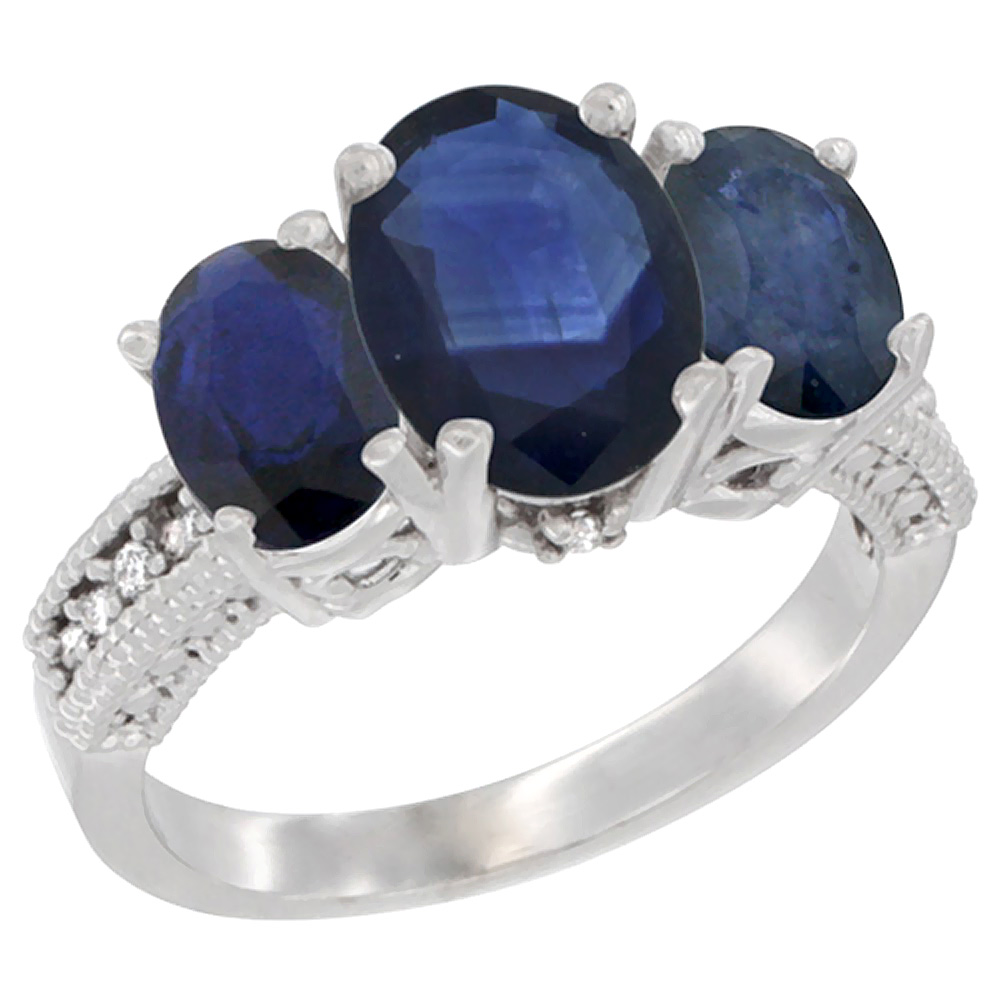 10K White Gold Diamond Natural Quality Blue Sapphire 3-stone Mothers Ring Oval 8x6mm, size5-10