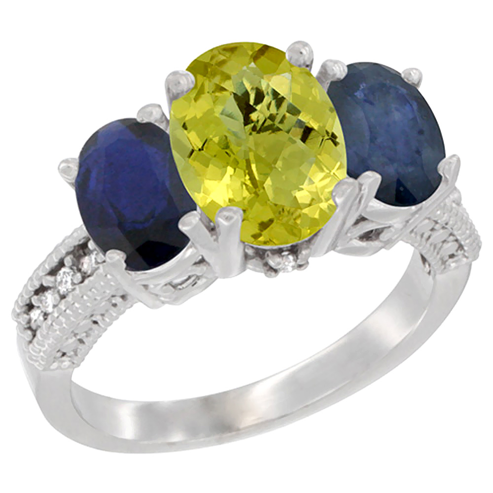 14K White Gold Natural Lemon Quartz Ring Ladies 3-Stone 8x6 Oval with Blue Sapphire Sides Diamond Accent, sizes 5 - 10