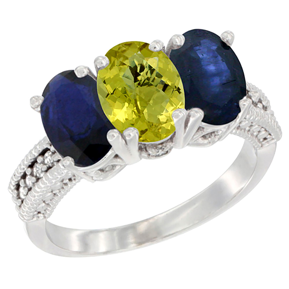 14K White Gold Natural Lemon Quartz & Blue Sapphire Sides Ring 3-Stone 7x5 mm Oval Diamond Accent, sizes 5 - 10