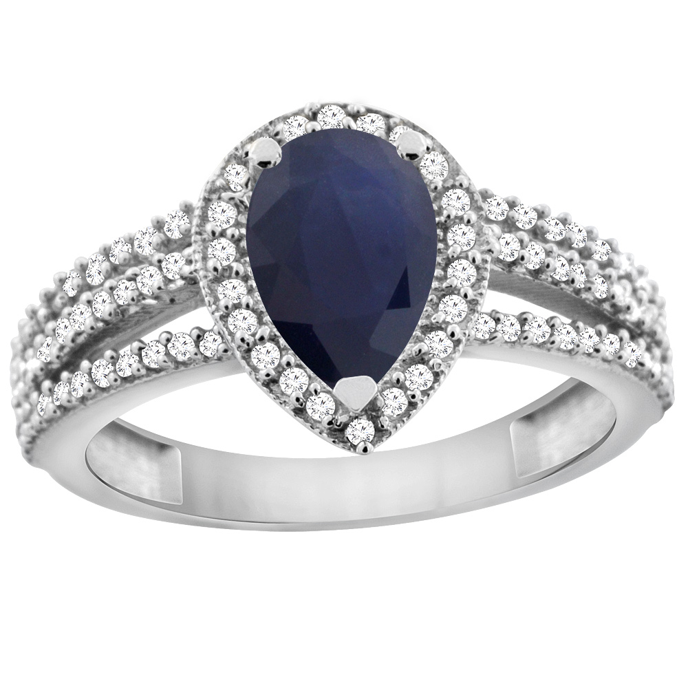 10K White Gold Natural Diffused Ceylon Sapphire Ring 9x7 Pear Halo Diamond, sizes 5 - 10