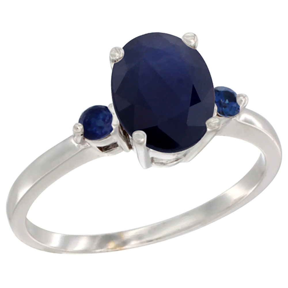 14K White Gold Natural Diffused Ceylon Sapphire Ring Oval 9x7 mm Blue Sapphire Accent, sizes 5 to 10