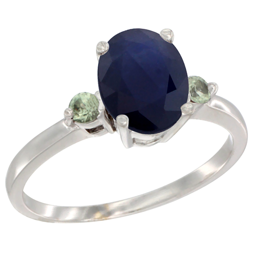 10K White Gold Natural Diffused Ceylon Sapphire Ring Oval 9x7 mm Green Sapphire Accent, sizes 5 to 10