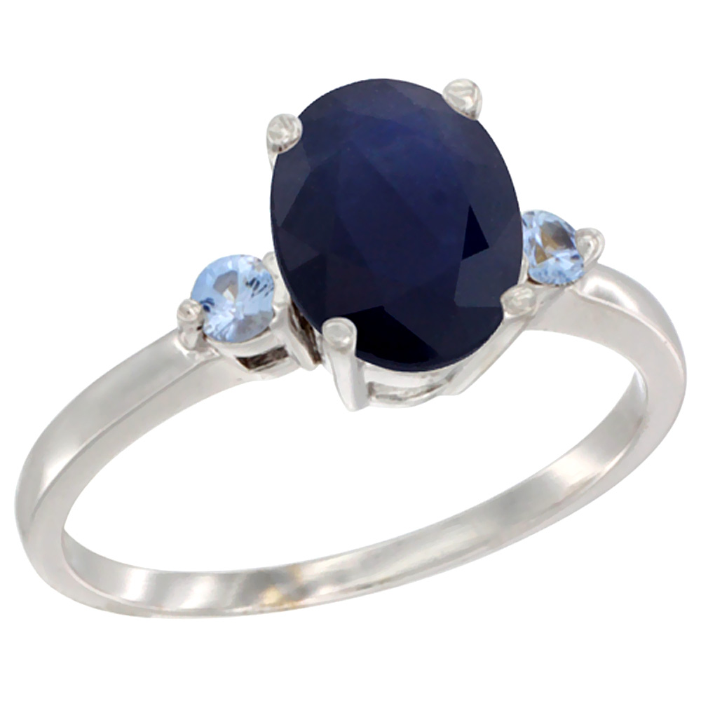 14K White Gold Natural Diffused Ceylon Sapphire Ring Oval 9x7 mm Light Blue Sapphire Accent, sizes 5 to 10