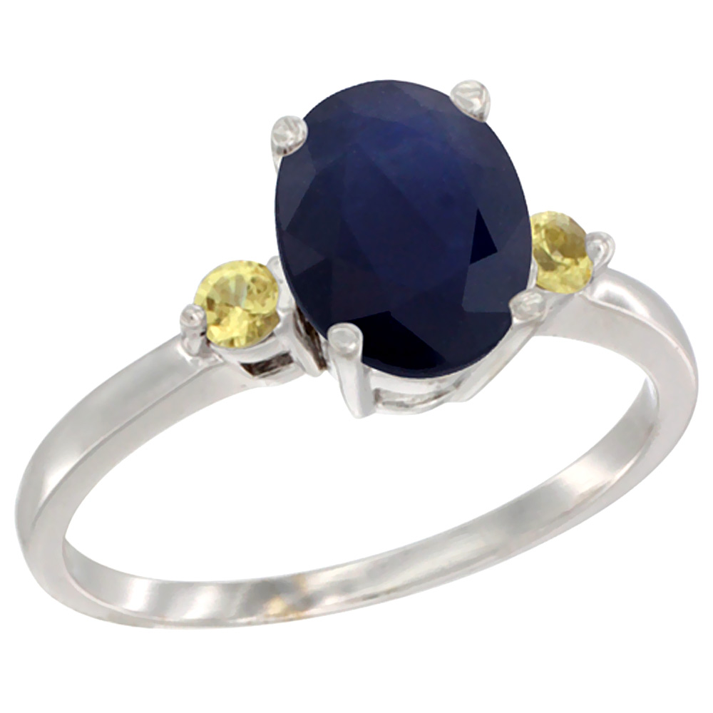 14K White Gold Natural Diffused Ceylon Sapphire Ring Oval 9x7 mm Yellow Sapphire Accent, sizes 5 to 10