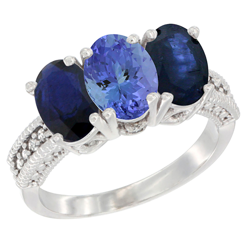 14K White Gold Natural Tanzanite & Blue Sapphire Sides Ring 3-Stone 7x5 mm Oval Diamond Accent, sizes 5 - 10