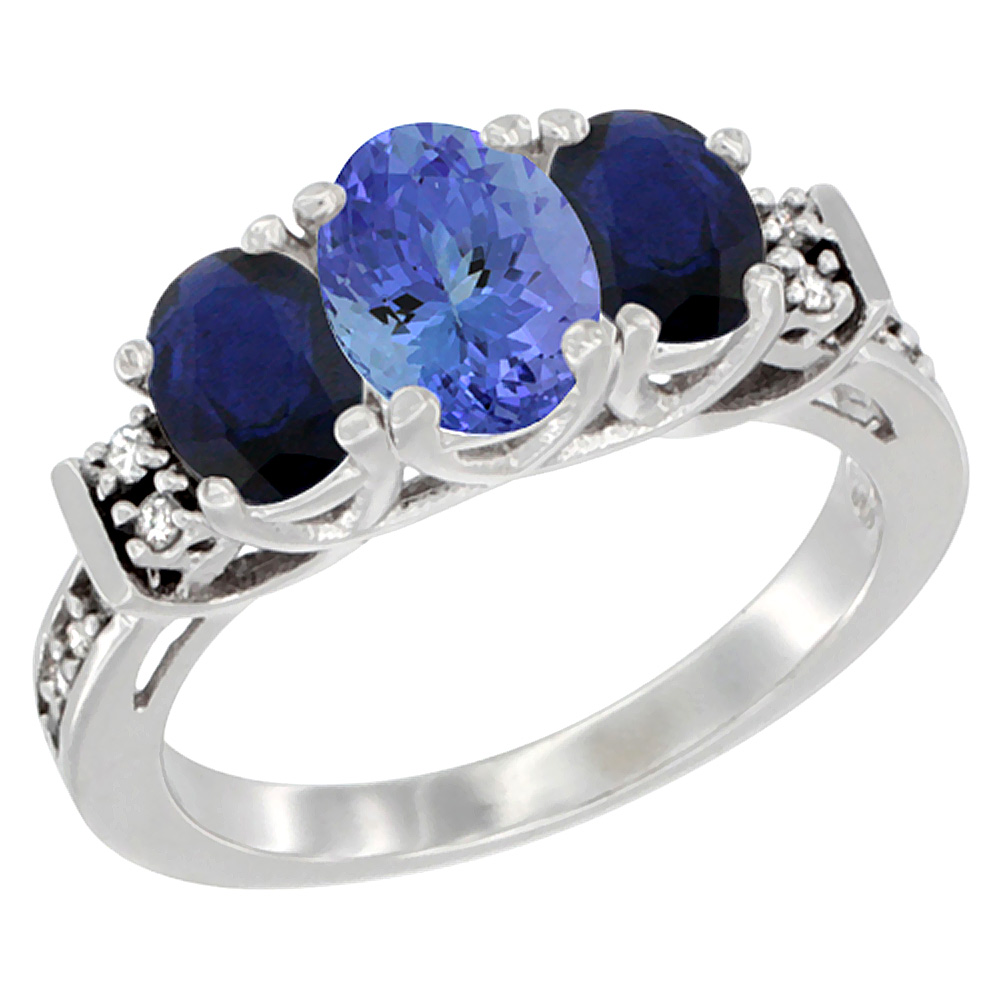 14K White Gold Natural Tanzanite & Quality Blue Sapphire 3-stone Mothers Ring Oval Diamond Accent, sz5-10