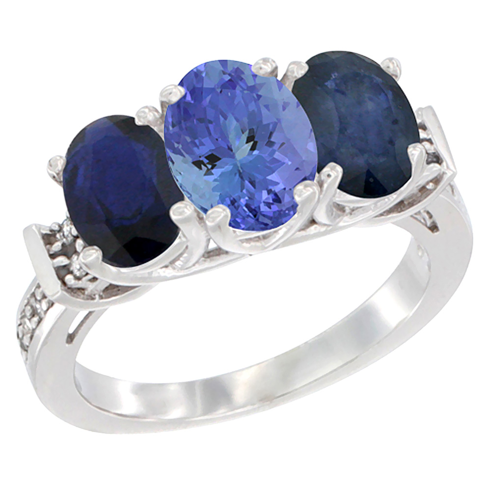 14K White Gold Natural Tanzanite & Blue Sapphire Sides Ring 3-Stone Oval Diamond Accent, sizes 5 - 10