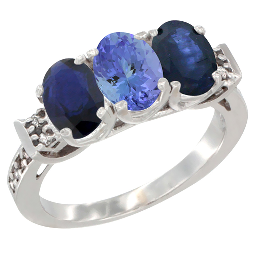 14K White Gold Natural Tanzanite & Blue Sapphire Sides Ring 3-Stone Oval 7x5 mm Diamond Accent, sizes 5 - 10