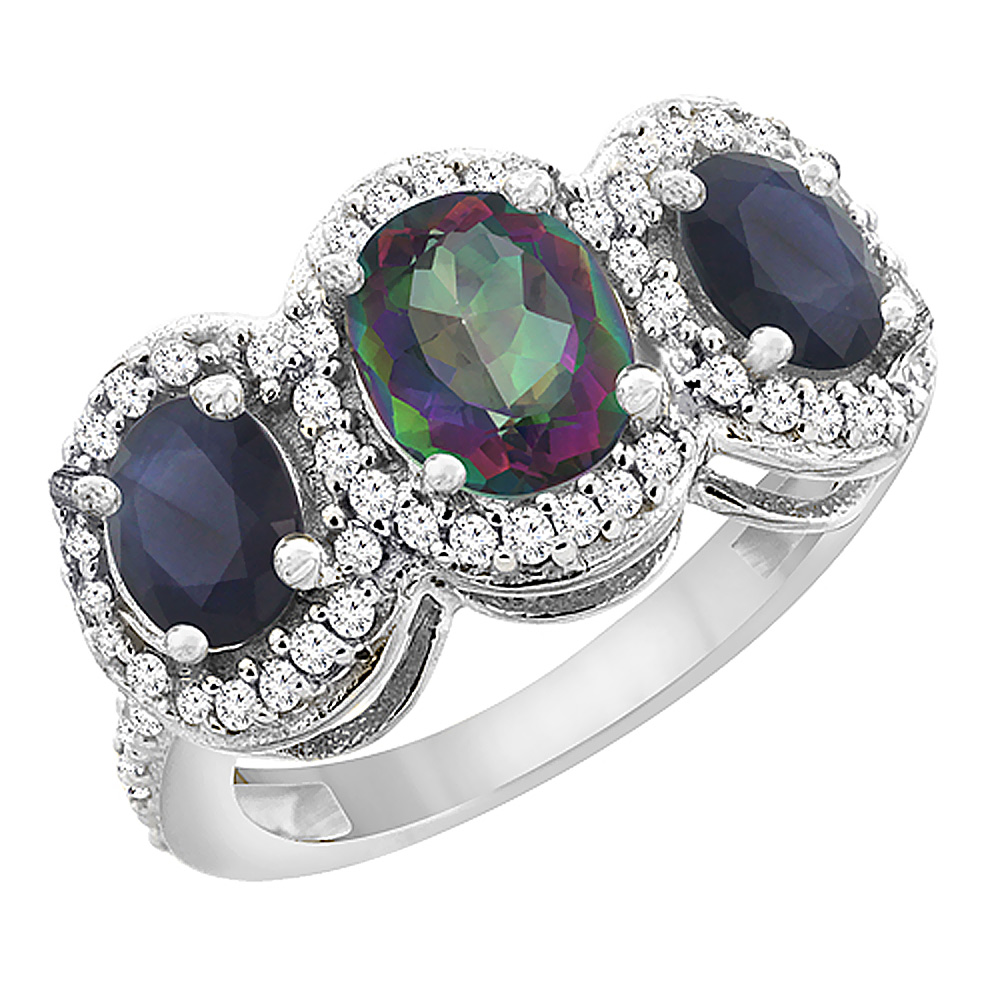 10K White Gold Diamond Natural Mystic Topaz 7x5mm & 6x4mm Quality Blue Sapphire Oval 3-stone Ring,sz5-10