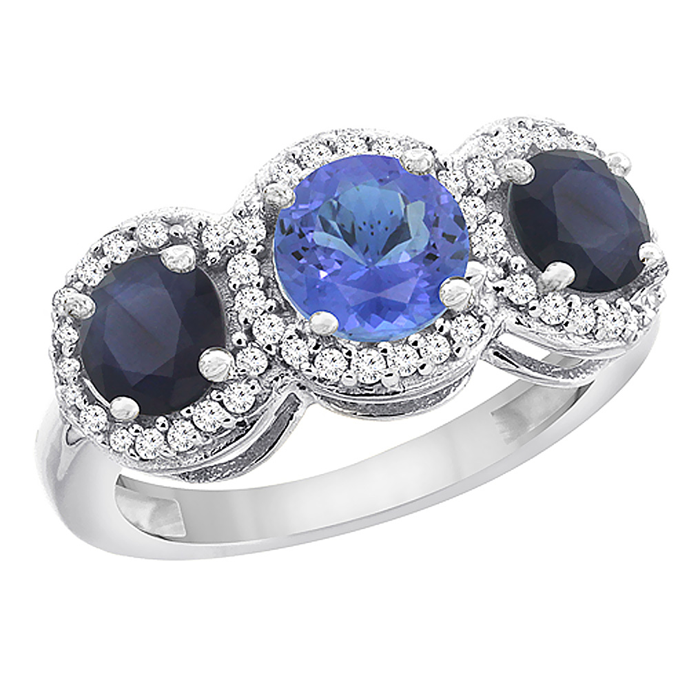 14K White Gold Natural Tanzanite & High Quality Blue Sapphire Sides Round 3-stone Ring Diamond Accents, sizes 5 - 10