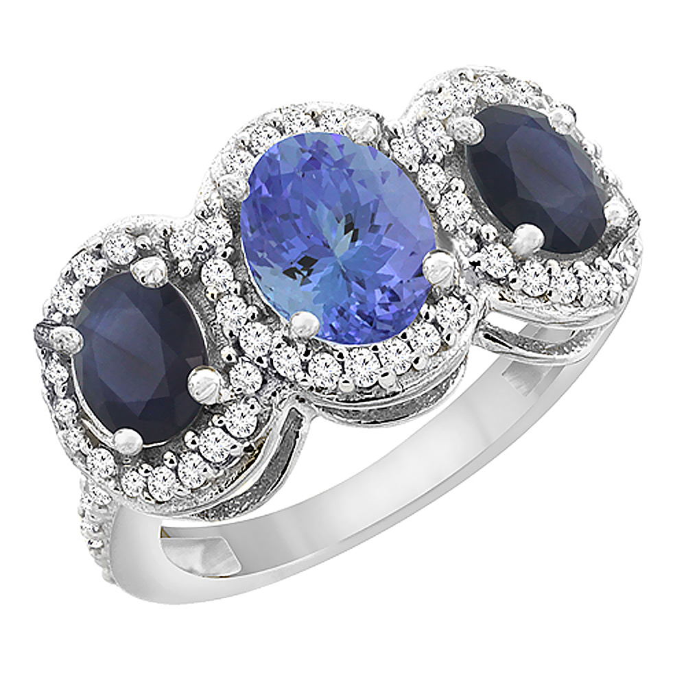14K White Gold Natural Tanzanite & Quality Blue Sapphire 3-stone Mothers Ring Oval Diamond Accent,sz5-10