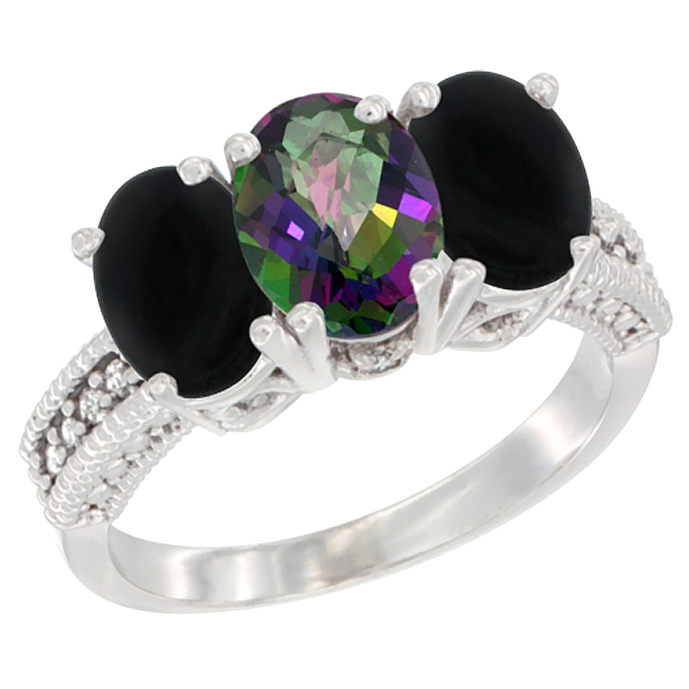 10K White Gold Diamond Natural Mystic Topaz & Black Onyx Ring 3-Stone 7x5 mm Oval, sizes 5 - 10
