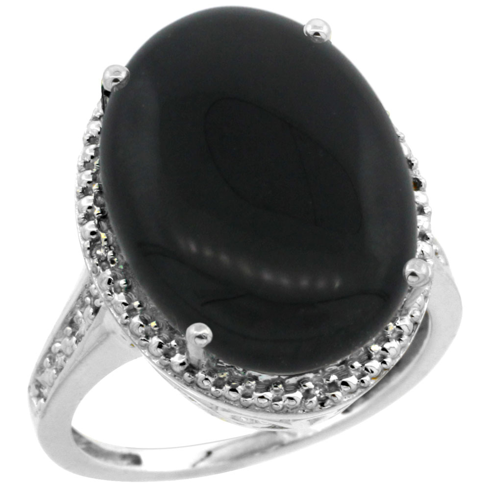 10K White Gold Diamond Natural Black Onyx Ring Oval 18x13mm, sizes 5-10