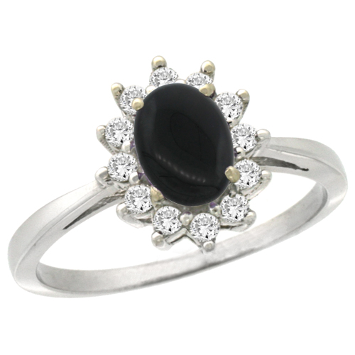 10k White Gold Natural Black Onyx Engagement Ring Oval 7x5mm Diamond Halo, sizes 5-10