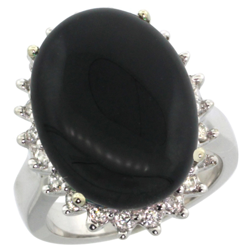 10k White Gold Diamond Halo Natural Black Onyx Ring Large Oval 18x13mm, sizes 5-10