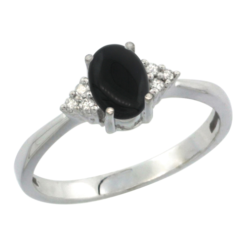 10K White Gold Diamond Natural Black Onyx Engagement Ring Oval 7x5mm, sizes 5-10
