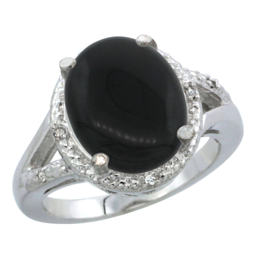10K White Gold Natural Onyx Ring Oval 12x10mm Diamond Accent, sizes 5-10