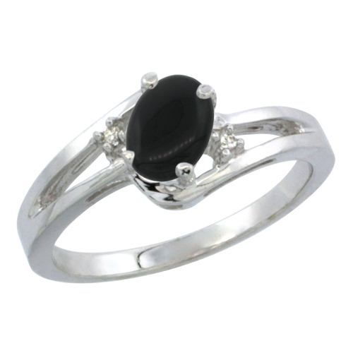 14K White Gold Diamond Natural Black Onyx Ring Oval 6x4 mm, sizes 5-10