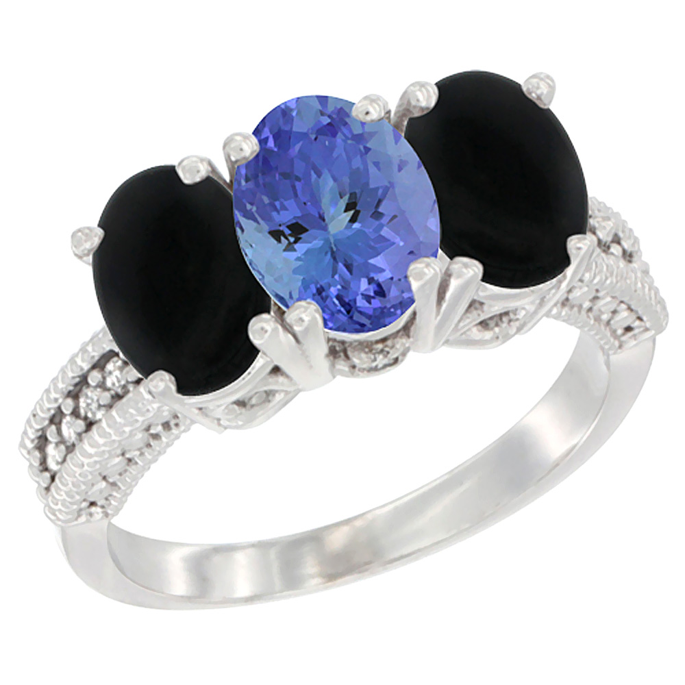 14K White Gold Natural Tanzanite & Black Onyx Sides Ring 3-Stone 7x5 mm Oval Diamond Accent, sizes 5 - 10