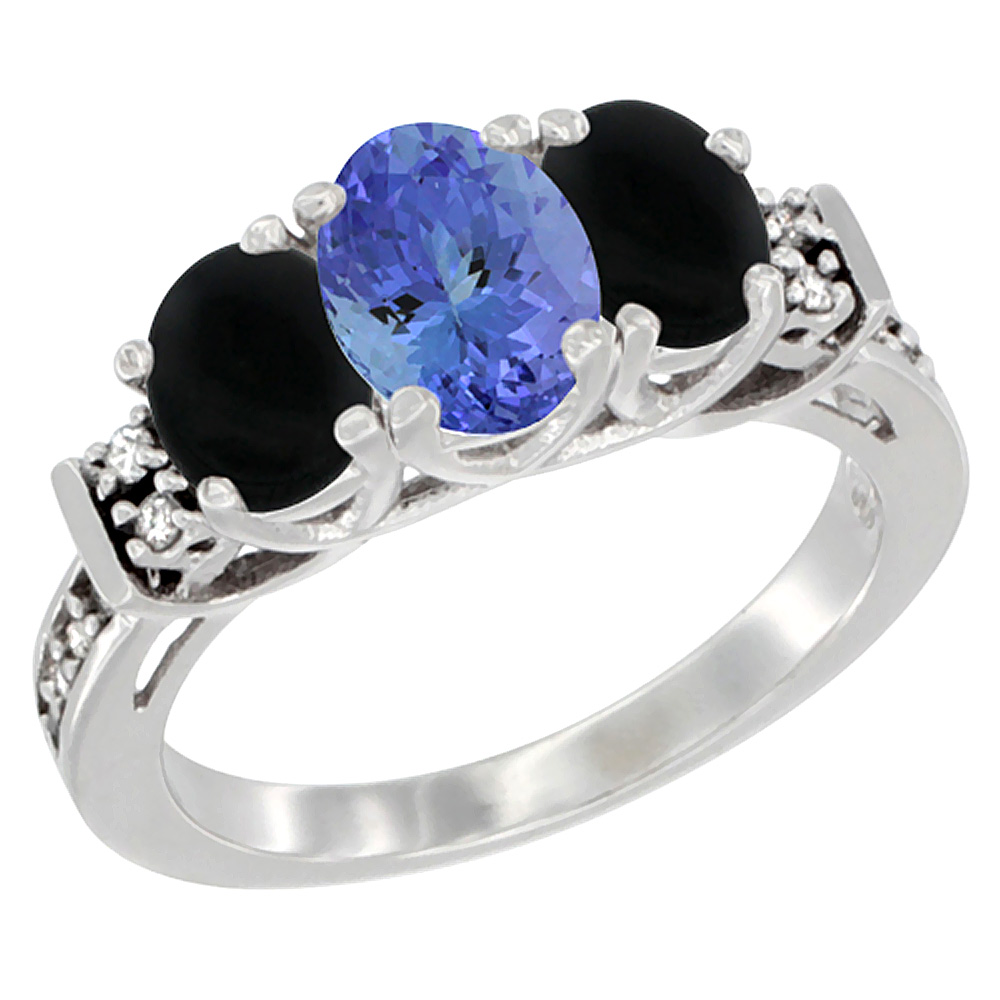 14K White Gold Natural Tanzanite & Black Onyx Ring 3-Stone Oval Diamond Accent, sizes 5-10