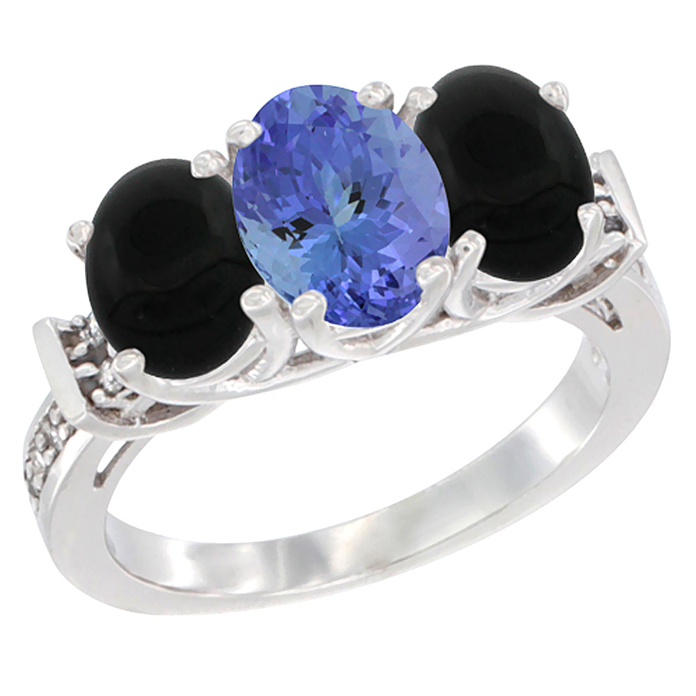 14K White Gold Natural Tanzanite & Black Onyx Sides Ring 3-Stone Oval Diamond Accent, sizes 5 - 10
