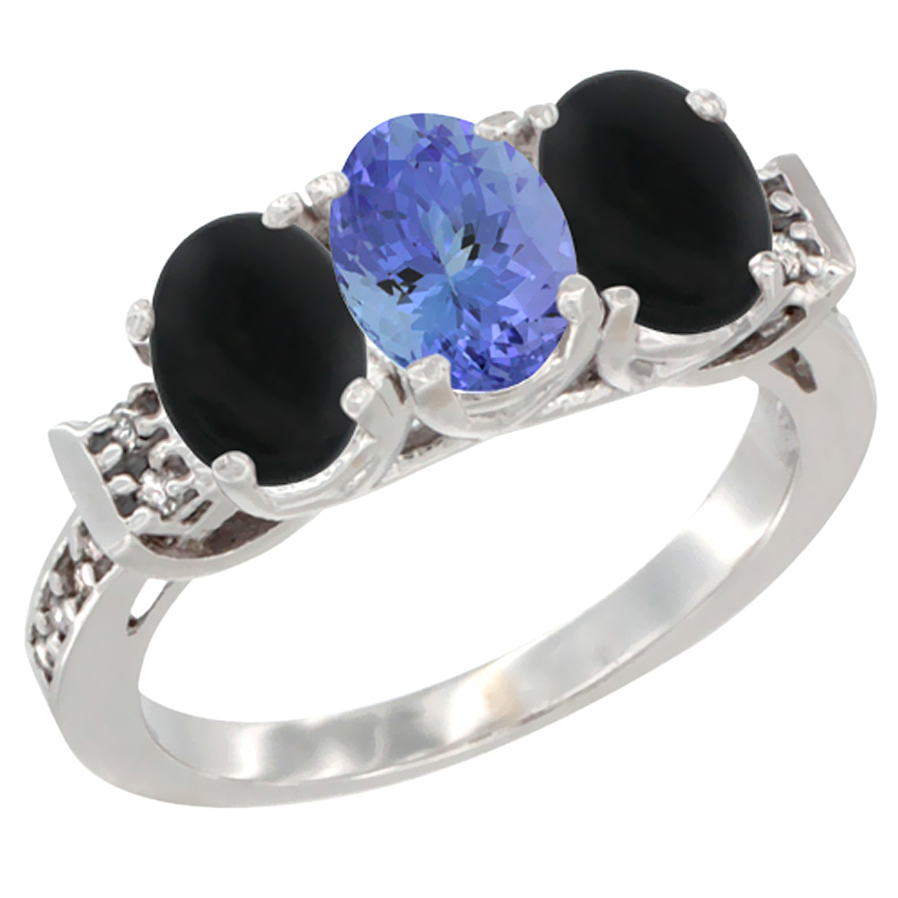 14K White Gold Natural Tanzanite & Black Onyx Sides Ring 3-Stone Oval 7x5 mm Diamond Accent, sizes 5 - 10