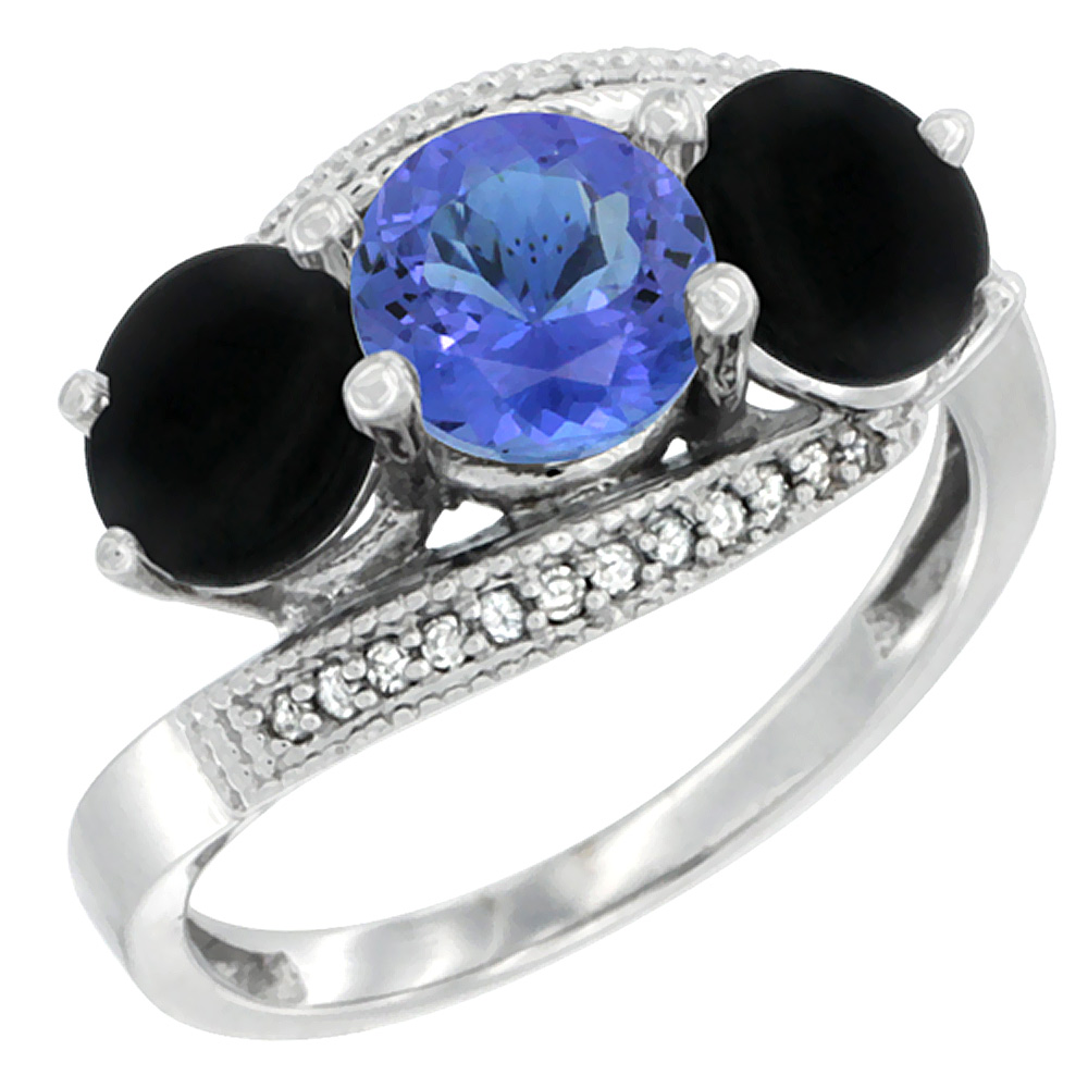 14K White Gold Natural Tanzanite & Black Onyx Sides 3 stone Ring Round 6mm Diamond Accent, sizes 5 - 10
