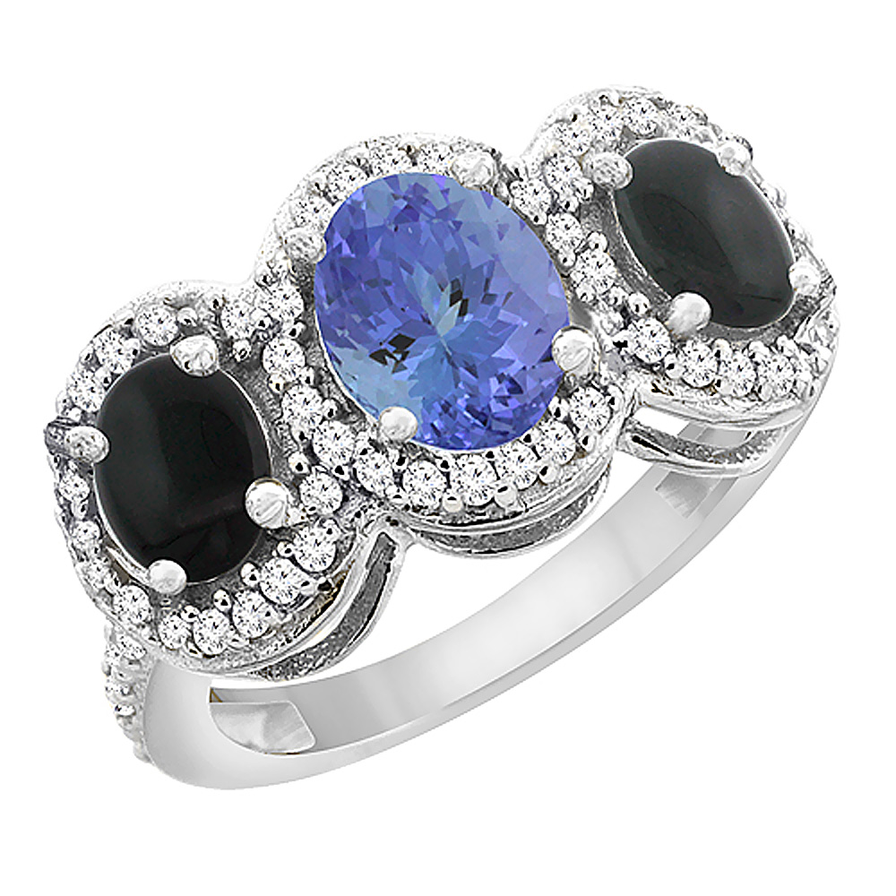 14K White Gold Natural Tanzanite & Black Onyx 3-Stone Ring Oval Diamond Accent, sizes 5 - 10